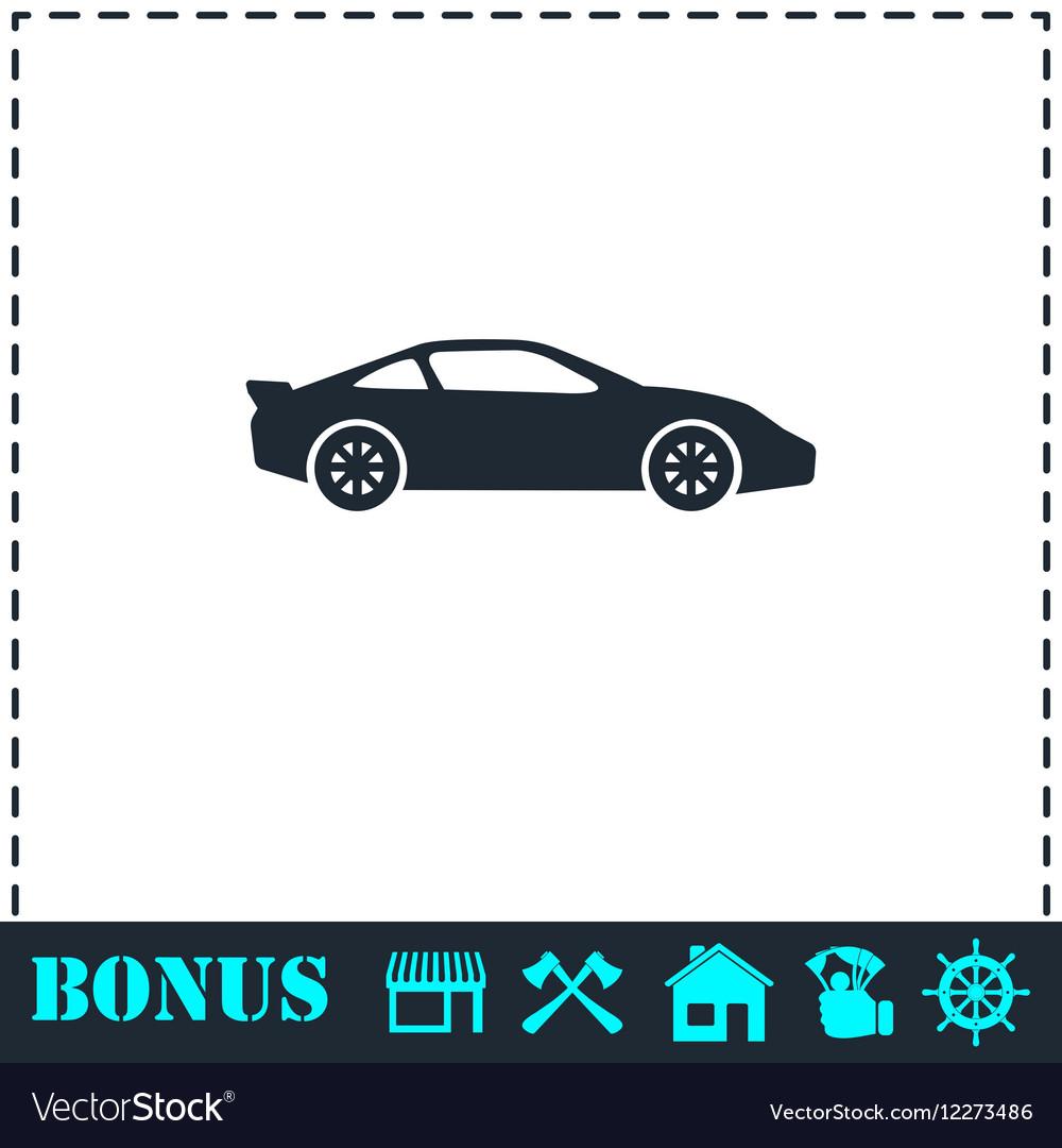 Sport car icon flat