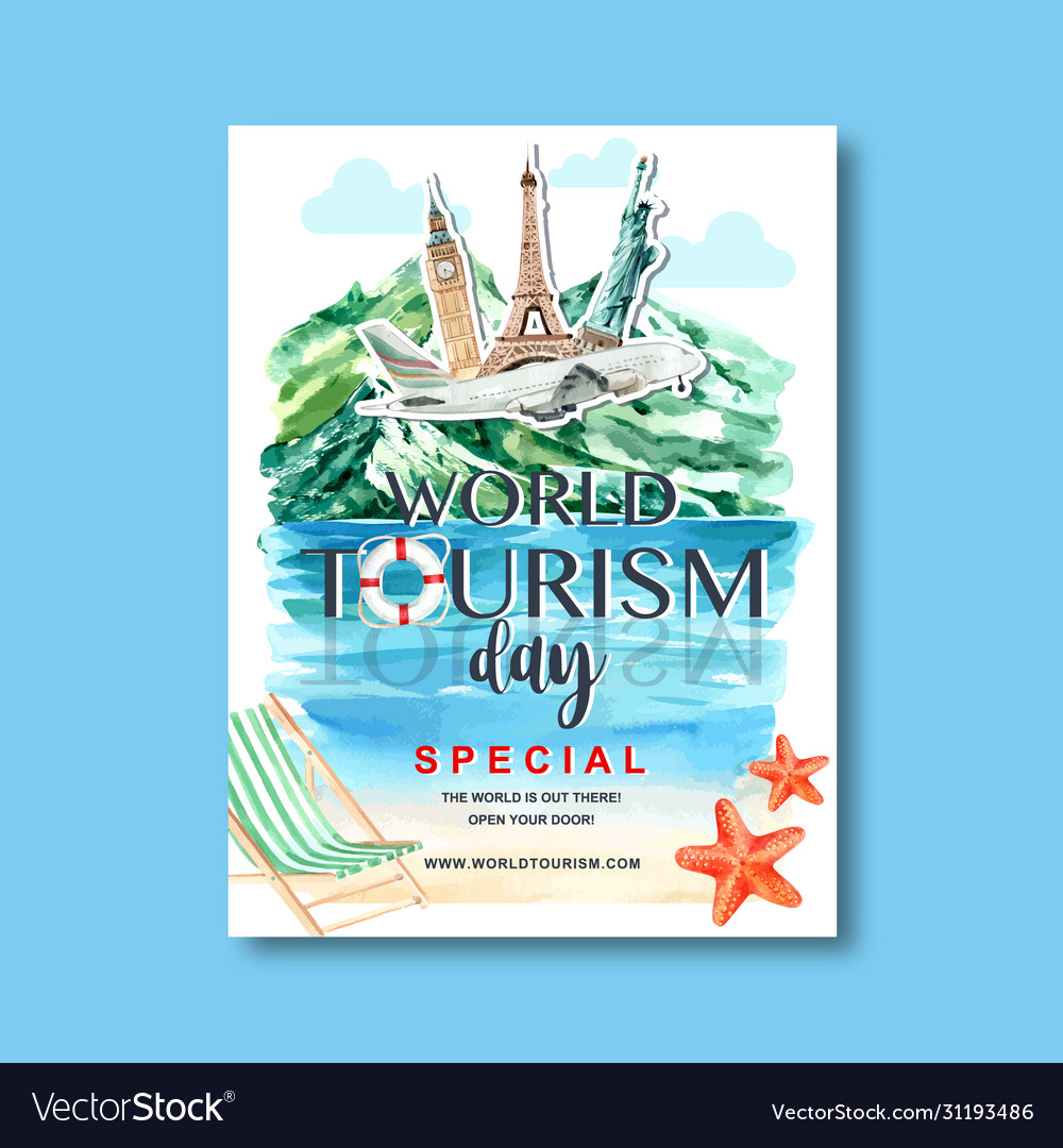 Tourism day poster design with nature hill river