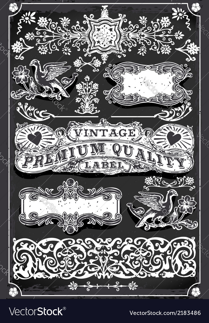 Vintage Blackboard Hand Drawn Banners and Labels