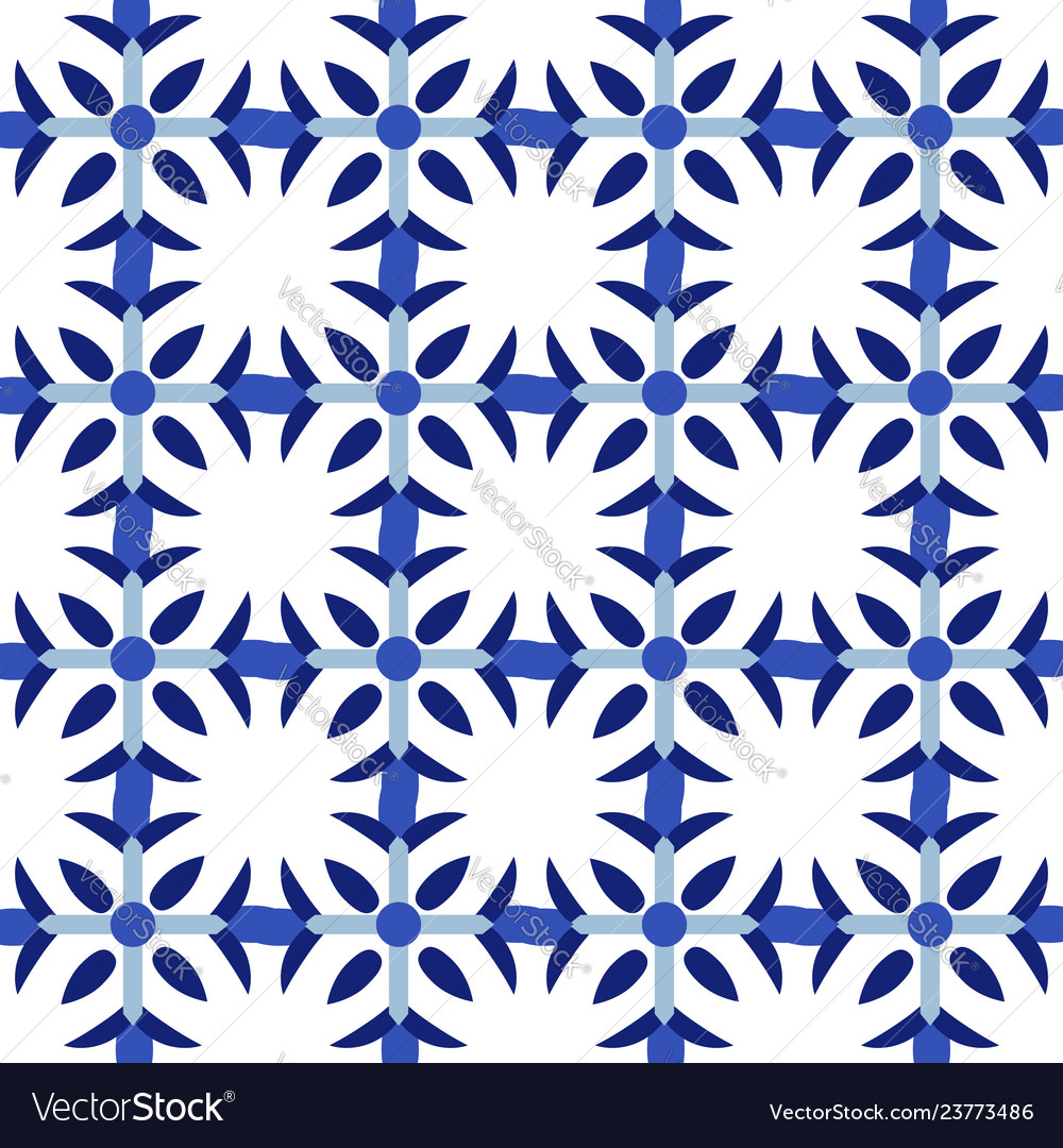 Vintage seamless pattern in portugal style azulejo