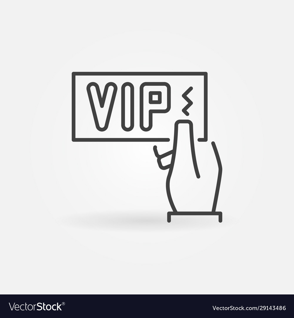 Vip card in hand icon in thin line style