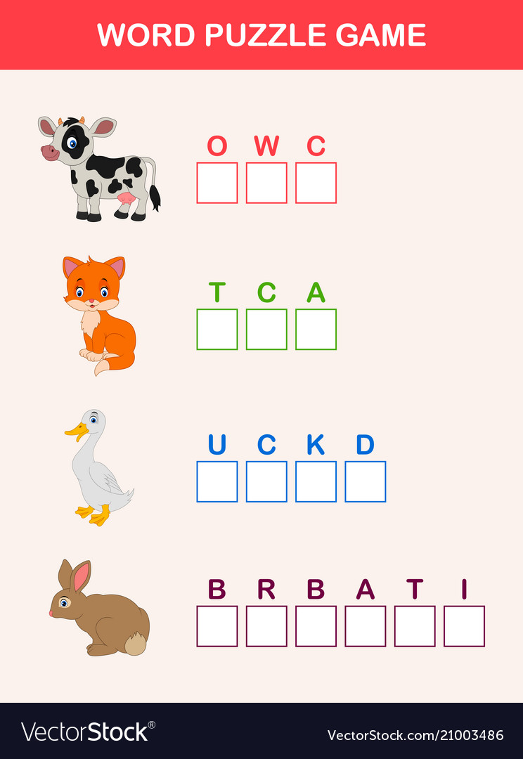 Words Puzzle Children Educational Game Royalty Free Vector