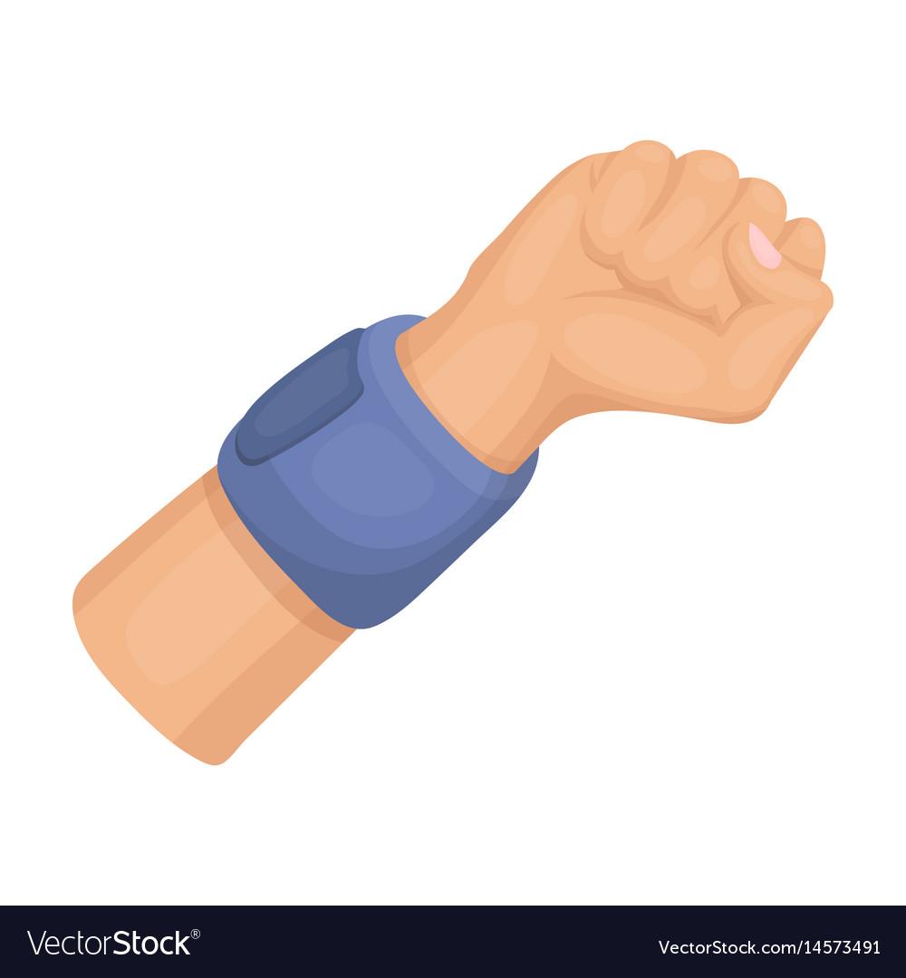 Arm with bandagebasketball single icon in cartoon
