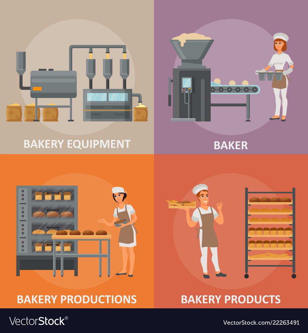 Bakery flat style design poster banner set