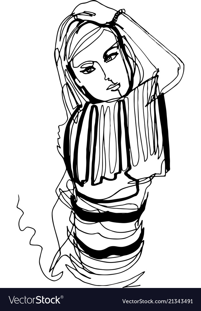 Beautiful woman in striped jumper took model pose