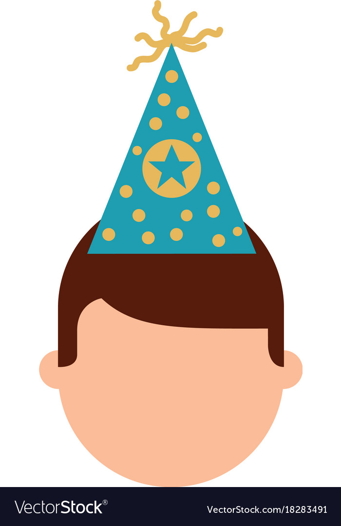 Birthday Boy With Party Hat Decoration Vector Image