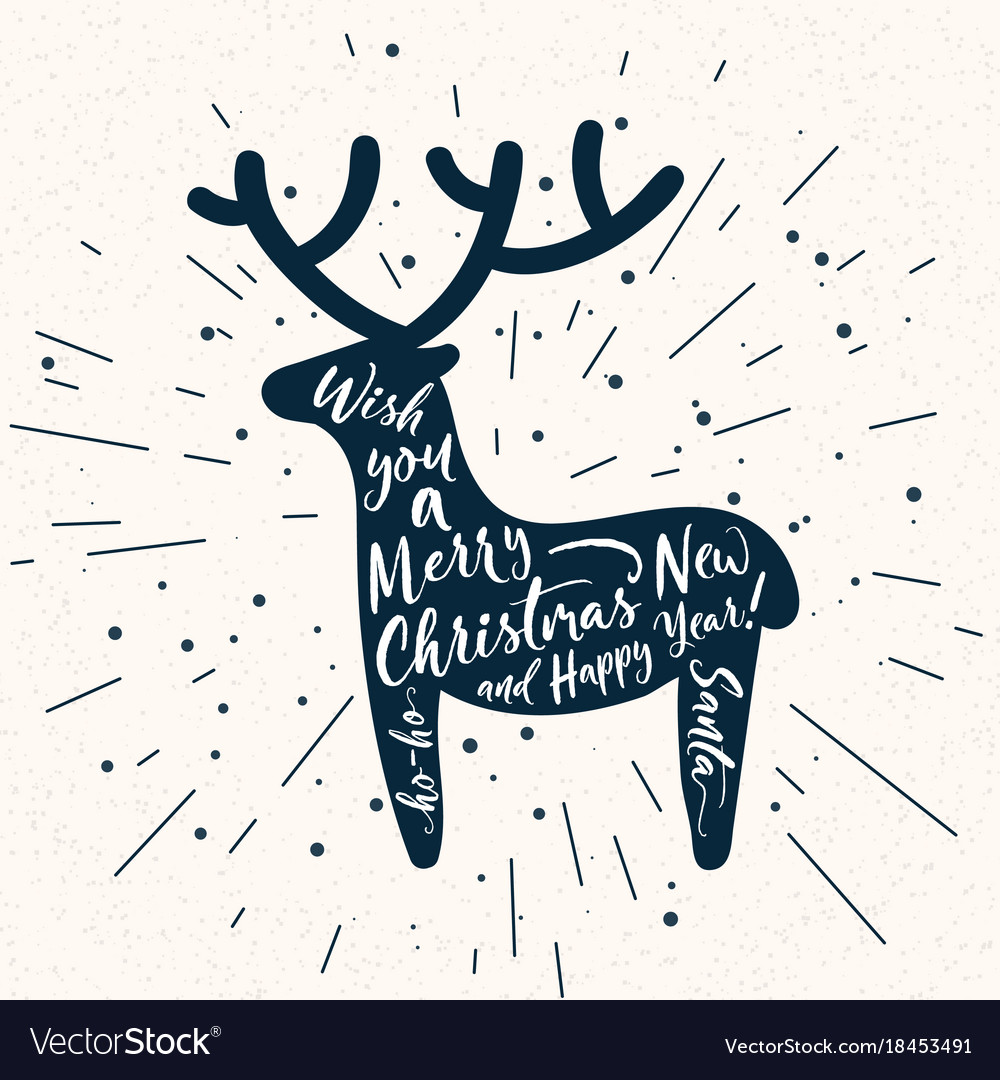 Christmas deer silhouette with lettering