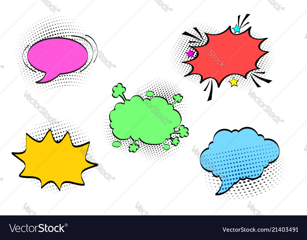 Comic speech bubbles set with different emotions