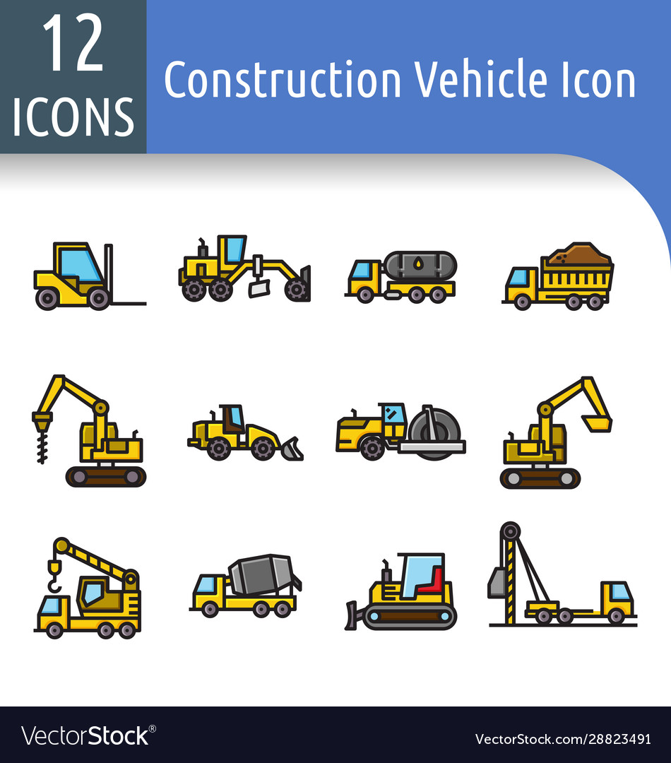 Construction vechicle color line icon