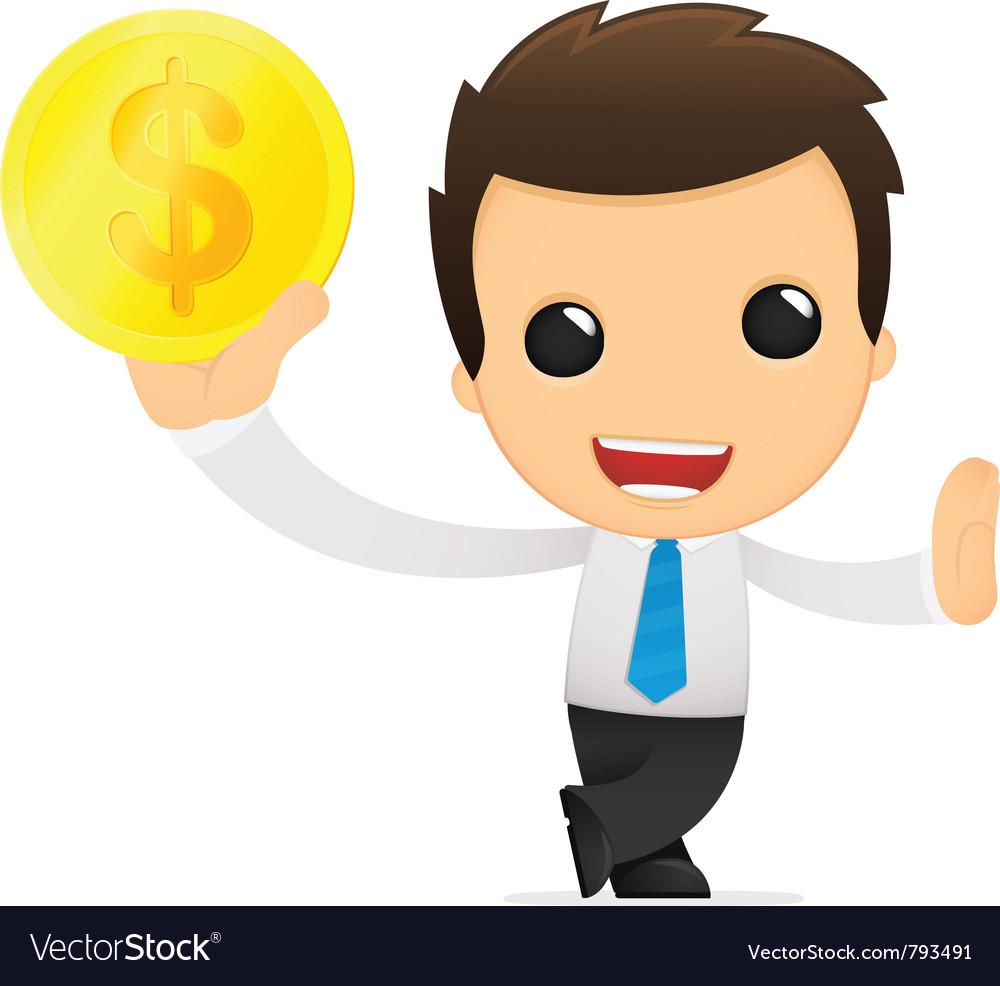 Funny cartoon office worker vector image