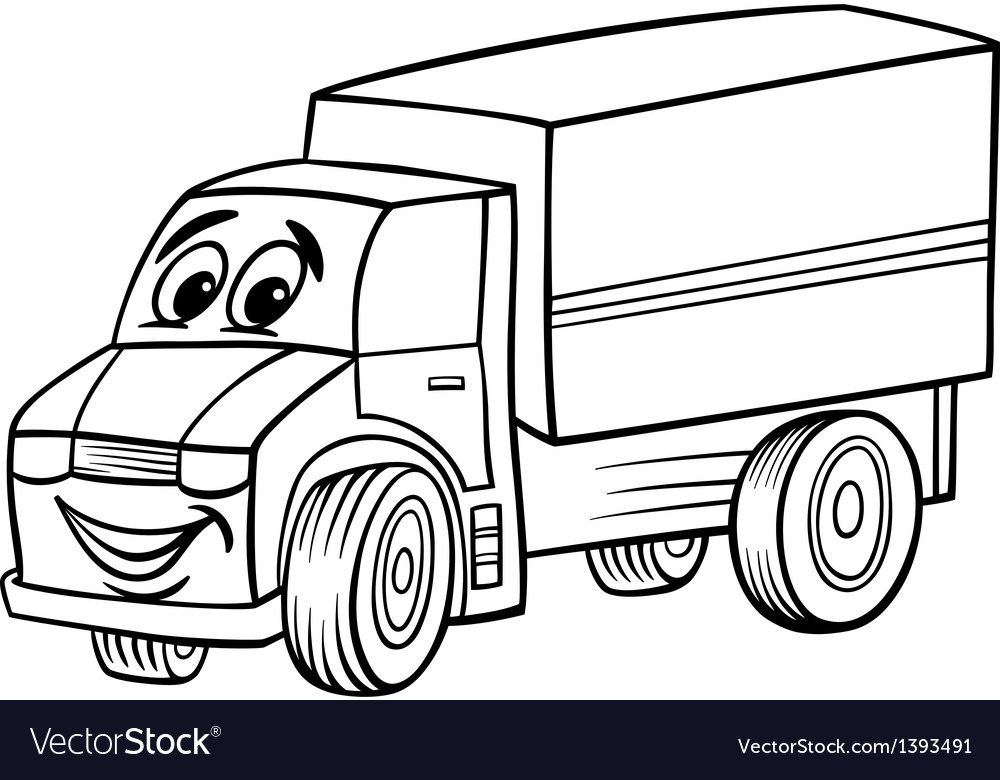 Funny truck cartoon for coloring book Royalty Free Vector