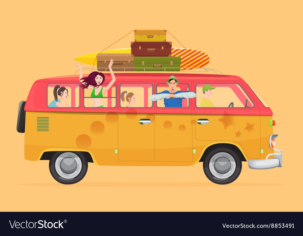Group of young people traveling in vintage bus vector image