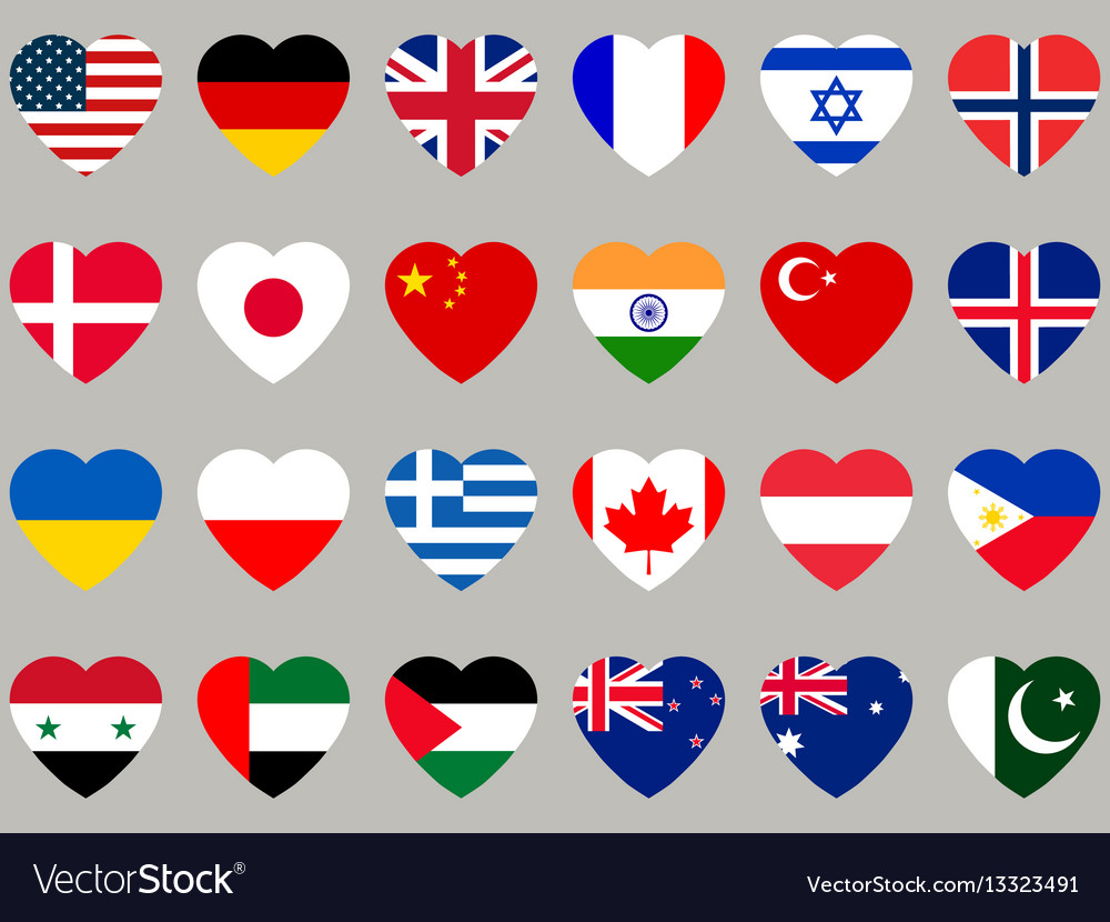 Hearts with flag flag icons set vector image