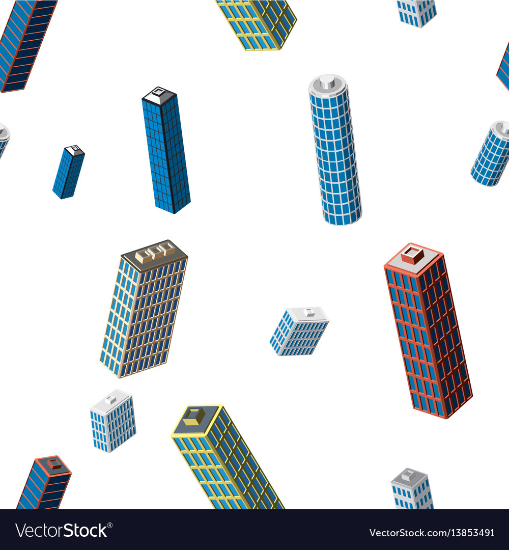 Isometric buildings seamless pattern