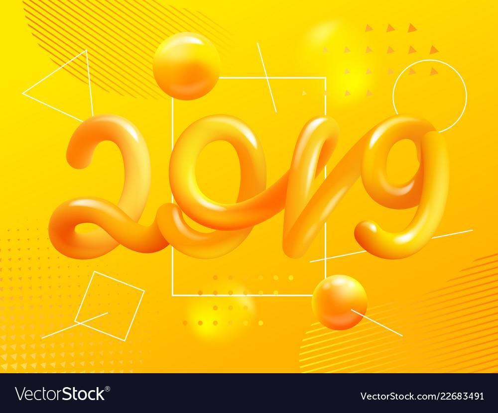New year gradient figures 2019 design template