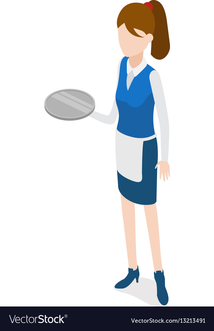 Restaurant waitress holding round metal grey tray