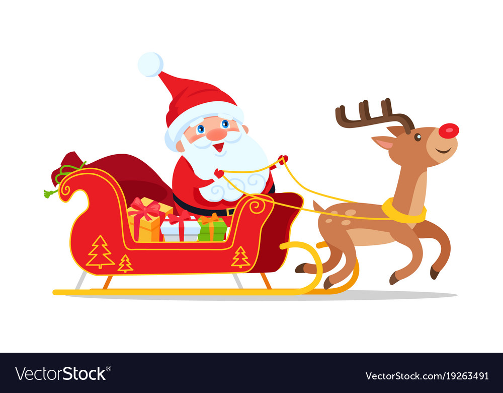Santa riding in sleigh with reindeer animal
