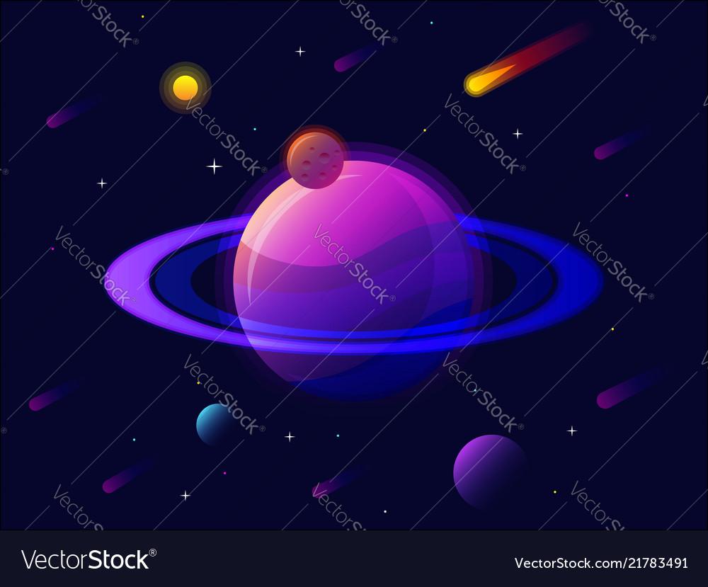 Saturn planet solar system with stars futuristic