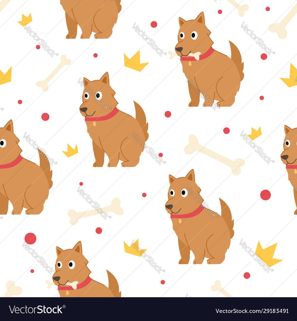 Seamless pattern cute dog