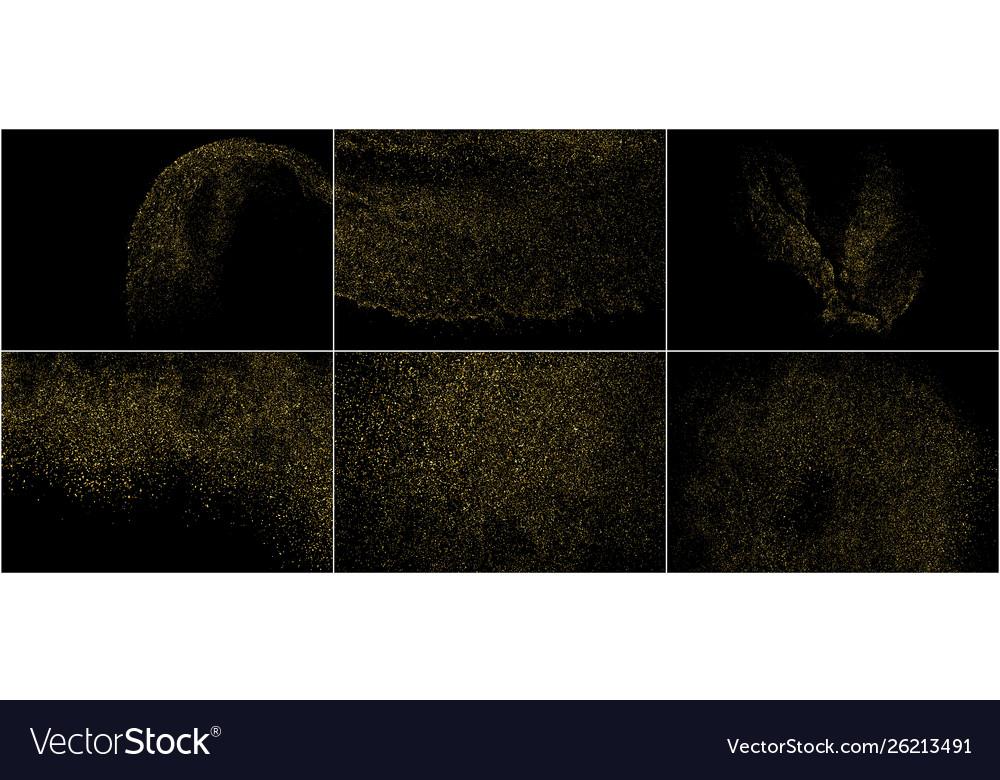Set gold glitter texture isolated on black