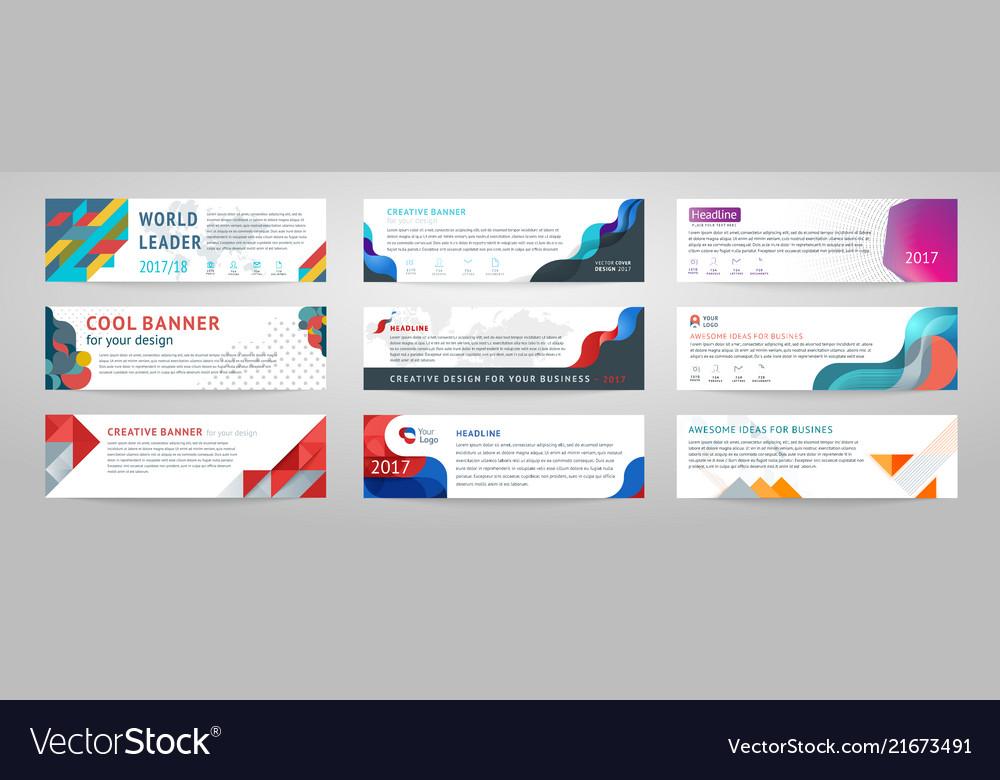 Set of abstract horizontal banner