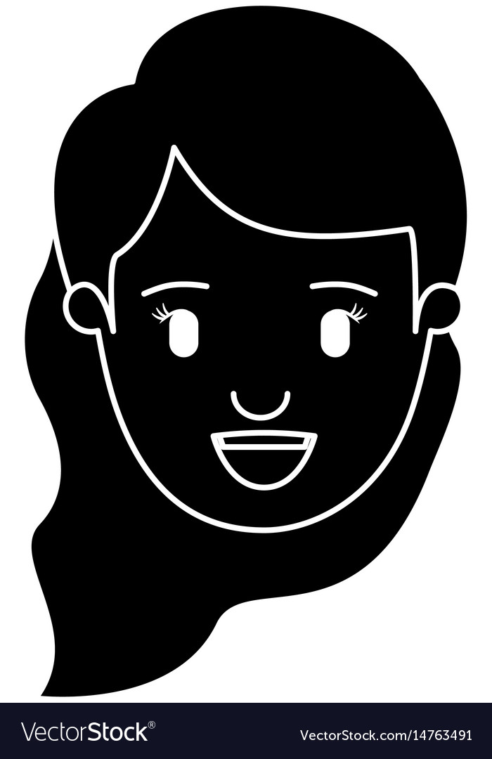 Silhouette black front view face woman with wavy