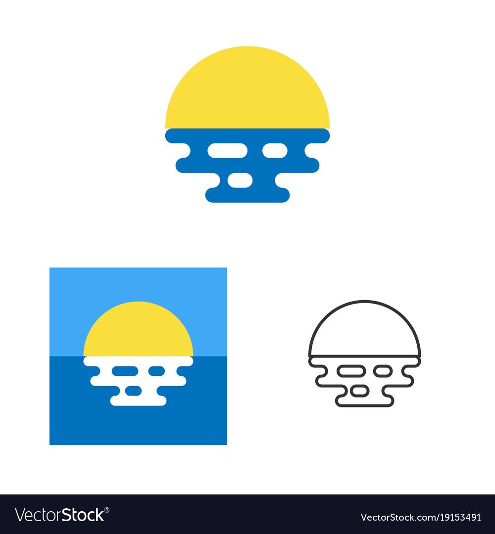 Sunrise or sunset logo template tourist company