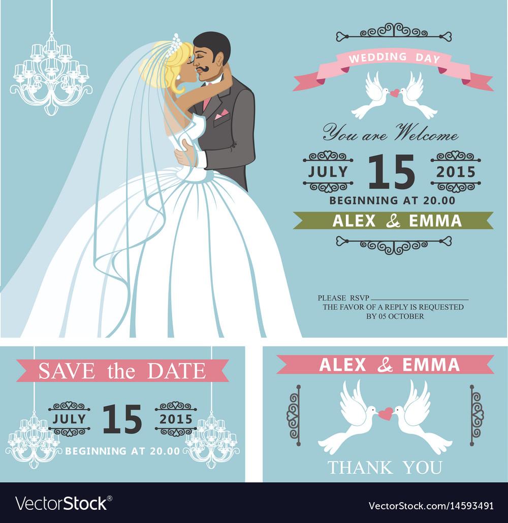 Wedding invitation setkissing cartoon bride and