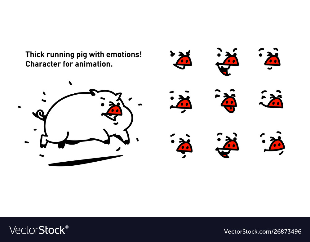 A cartoon pig flat outline style for true