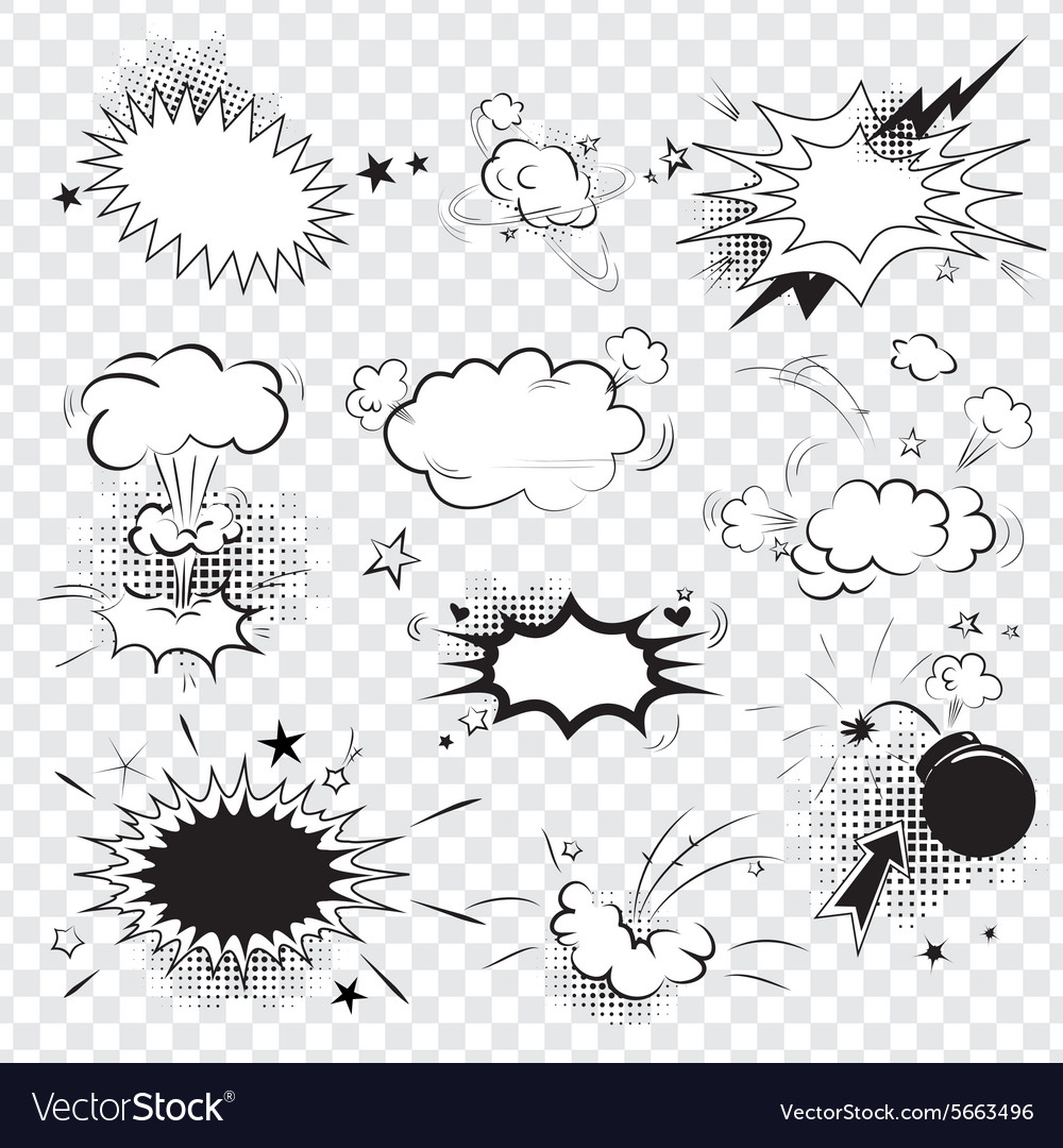 Blank text comic black speech bubbles in pop art vector image