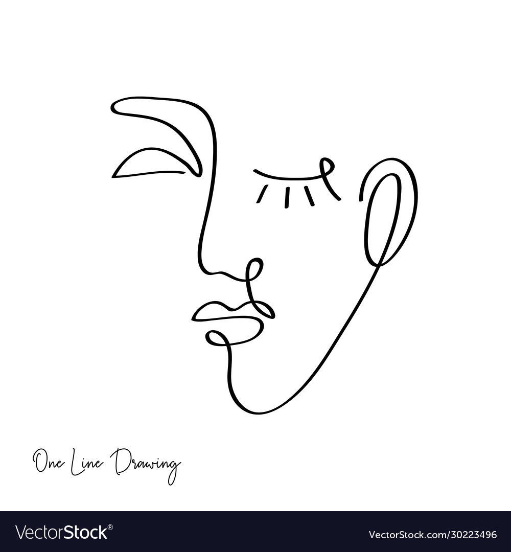 Fashion one line drawing women faces