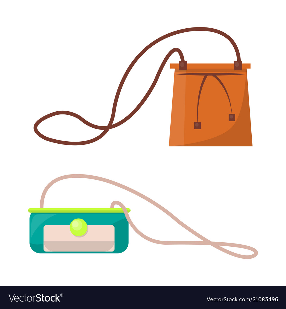 Female stylish leather purses with long straps set vector image 171c0b7fb8aa8