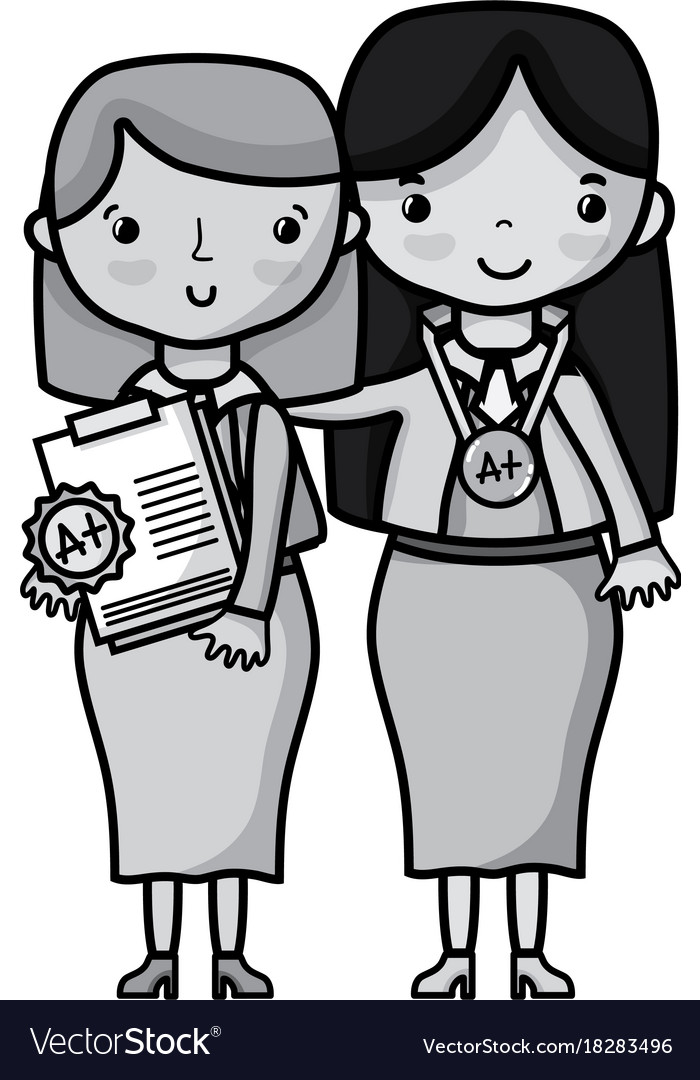Grayscale teacher with student to class education vector image