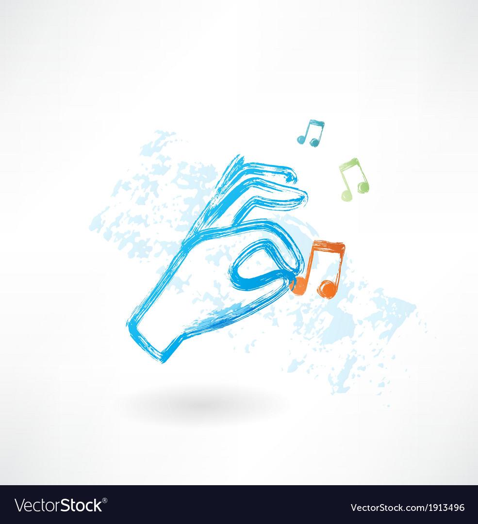 Hand music grunge icon