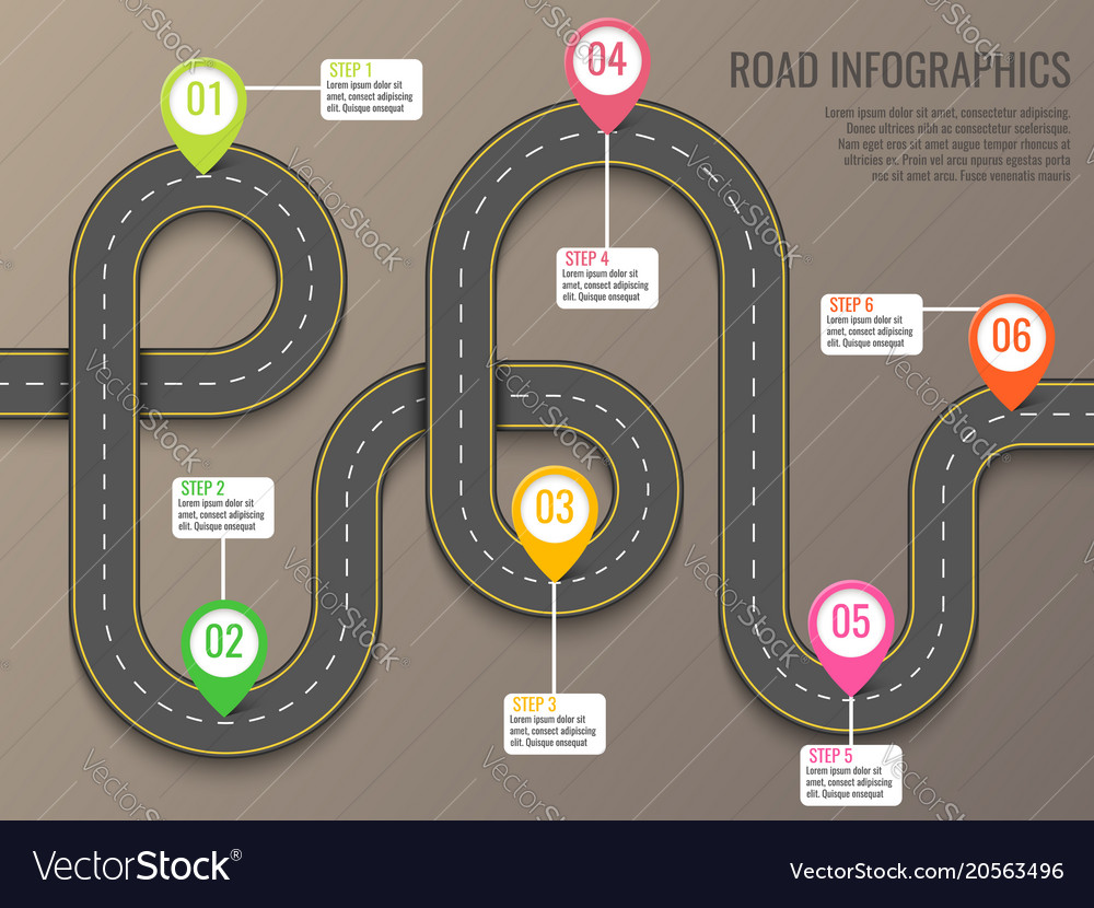 Infographics template with road map using pointers
