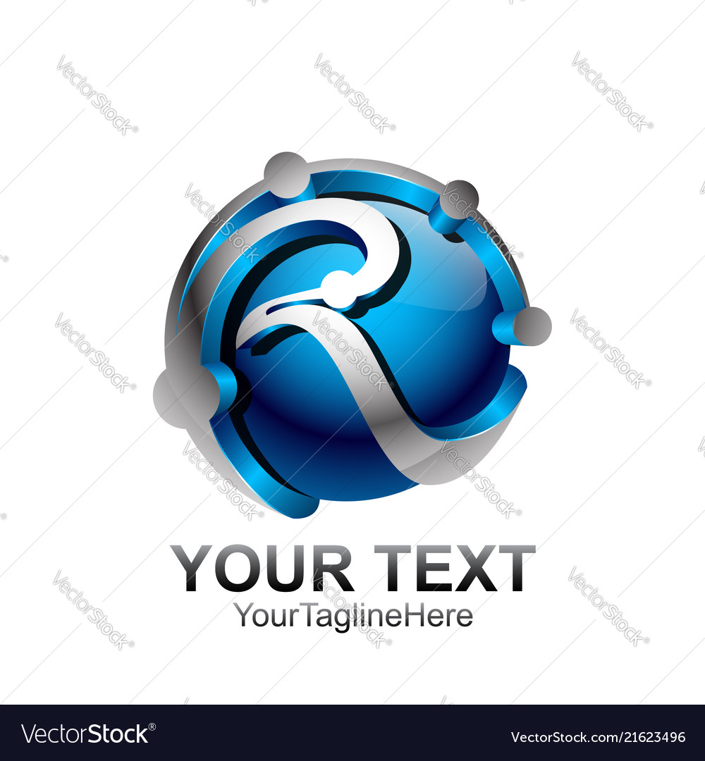 Initial letter r logo template colored blue green
