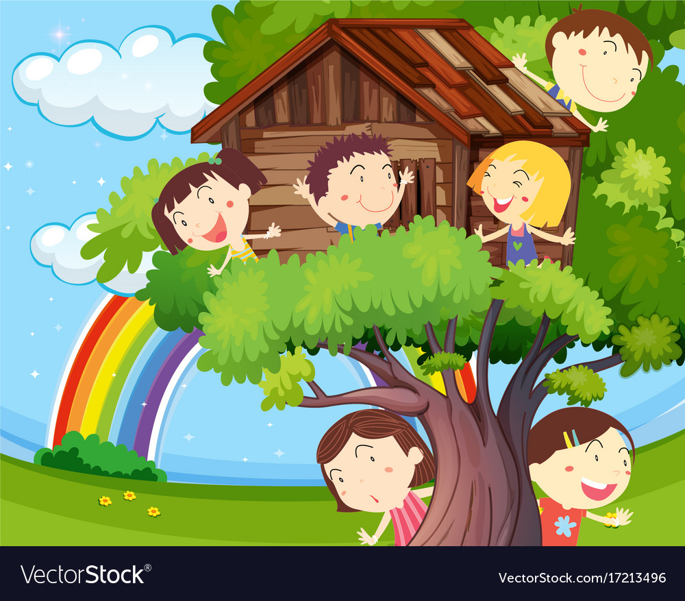 Many children playing on treehouse vector image