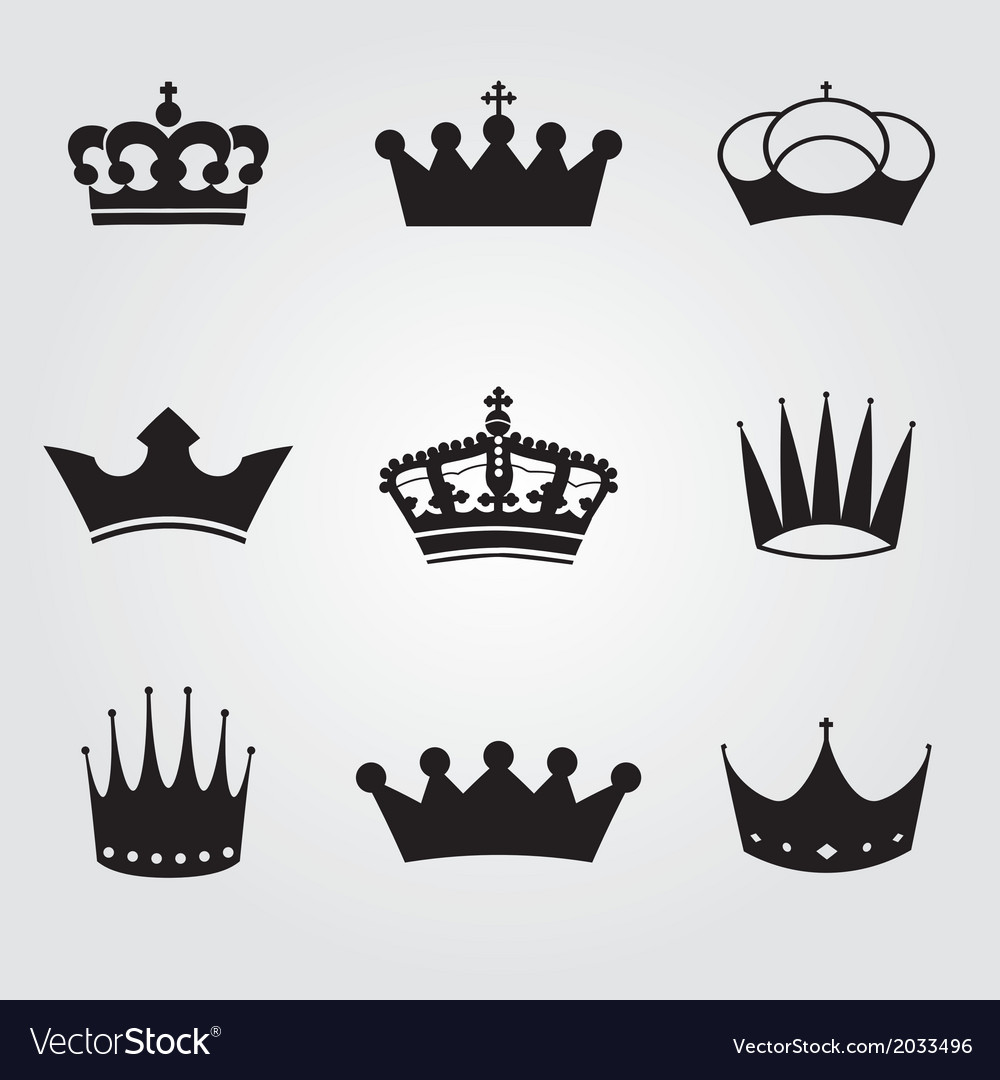 Monochrome vintage antique crowns vector image