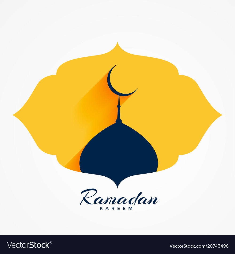 Mosque top with moon for ramadan or eid festival vector image