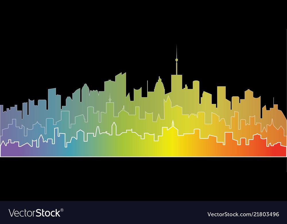 Rainbow city landscape