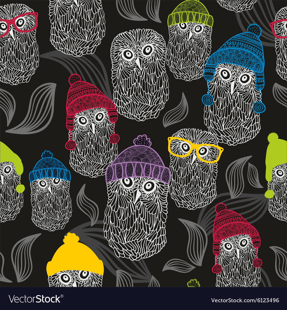 Seamless background with winter owls