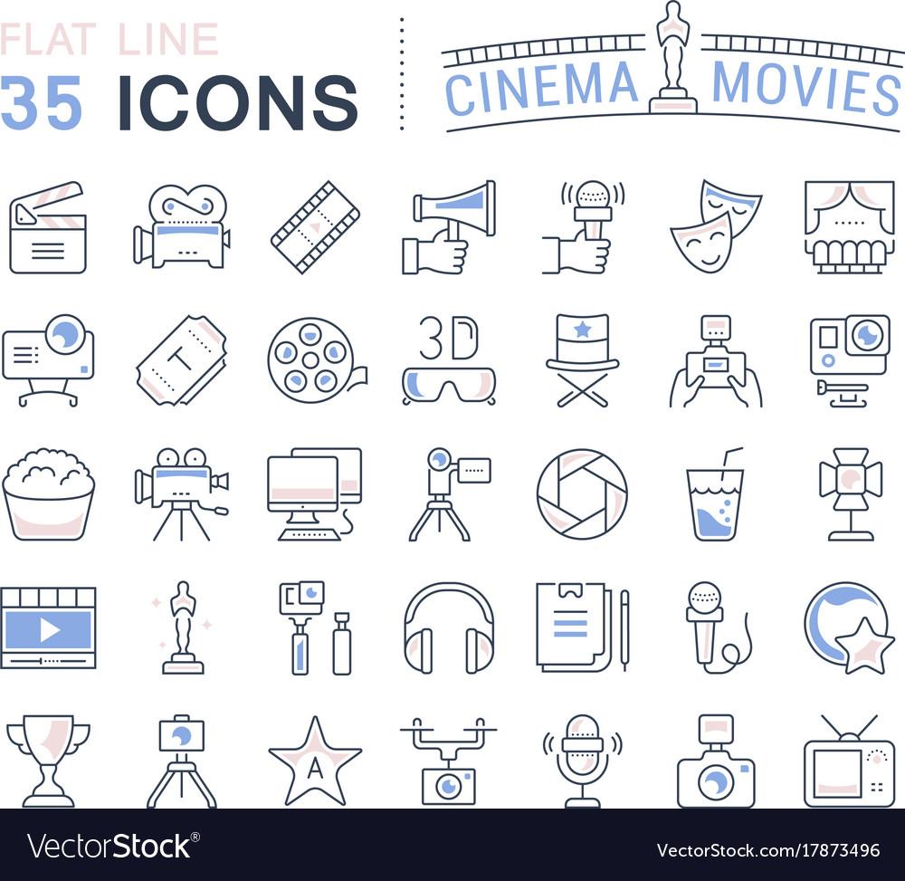 Set flat line icons cinema and movies