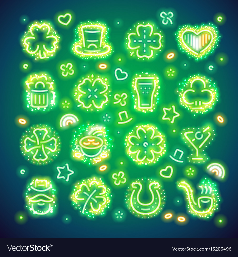 St patrick icons with sparkles