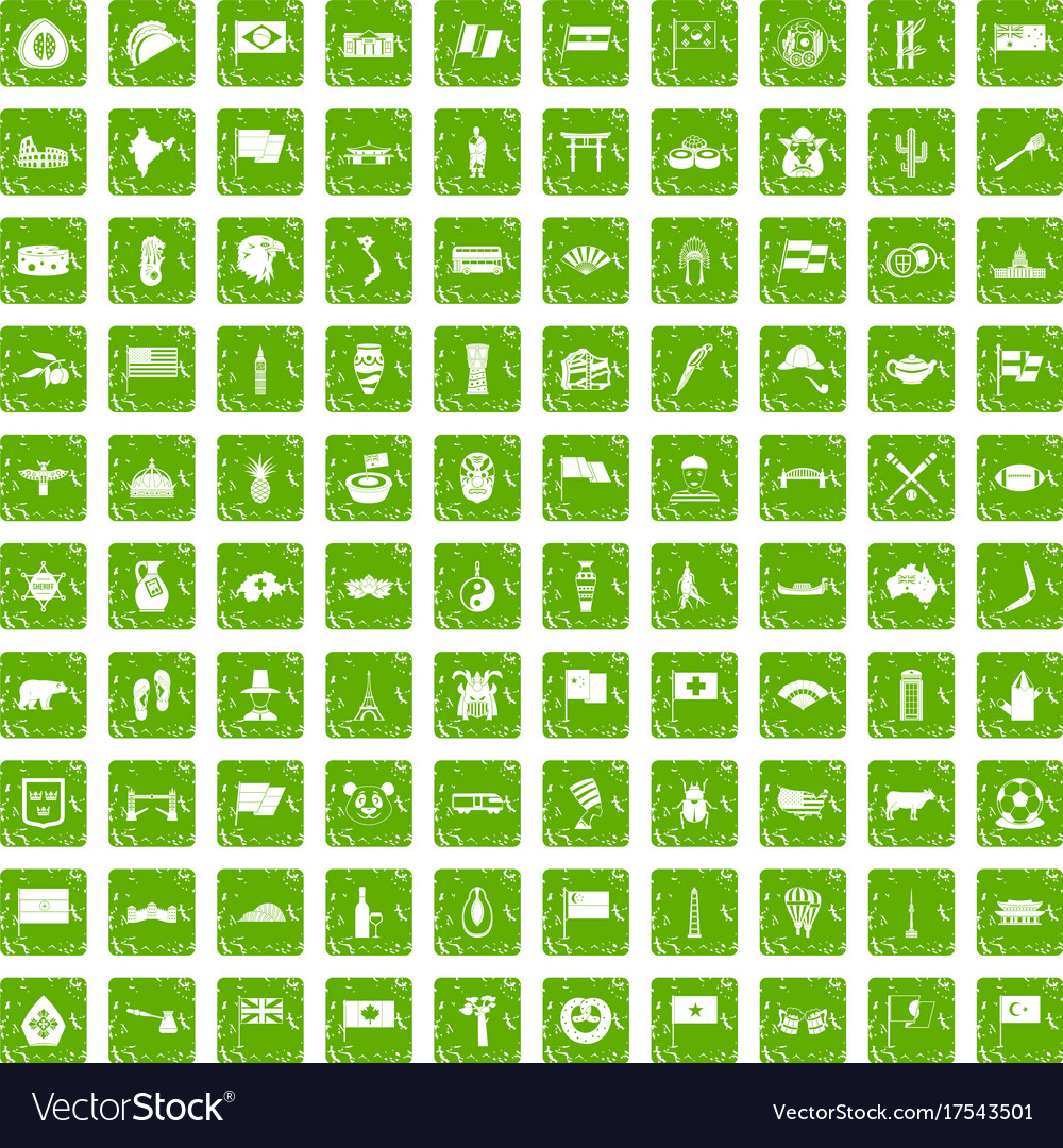 100 national flag icons set grunge green