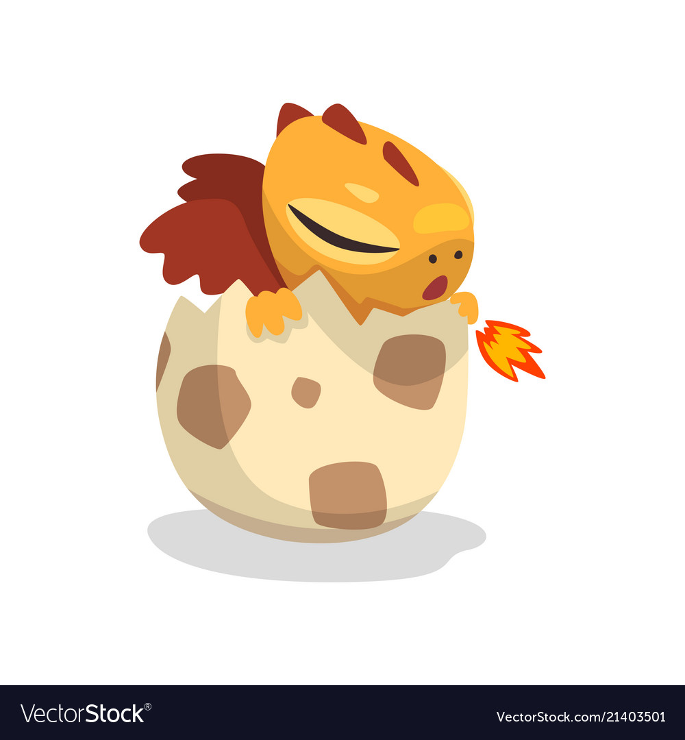 Cute cartoon baby dragon hatching from egg funny