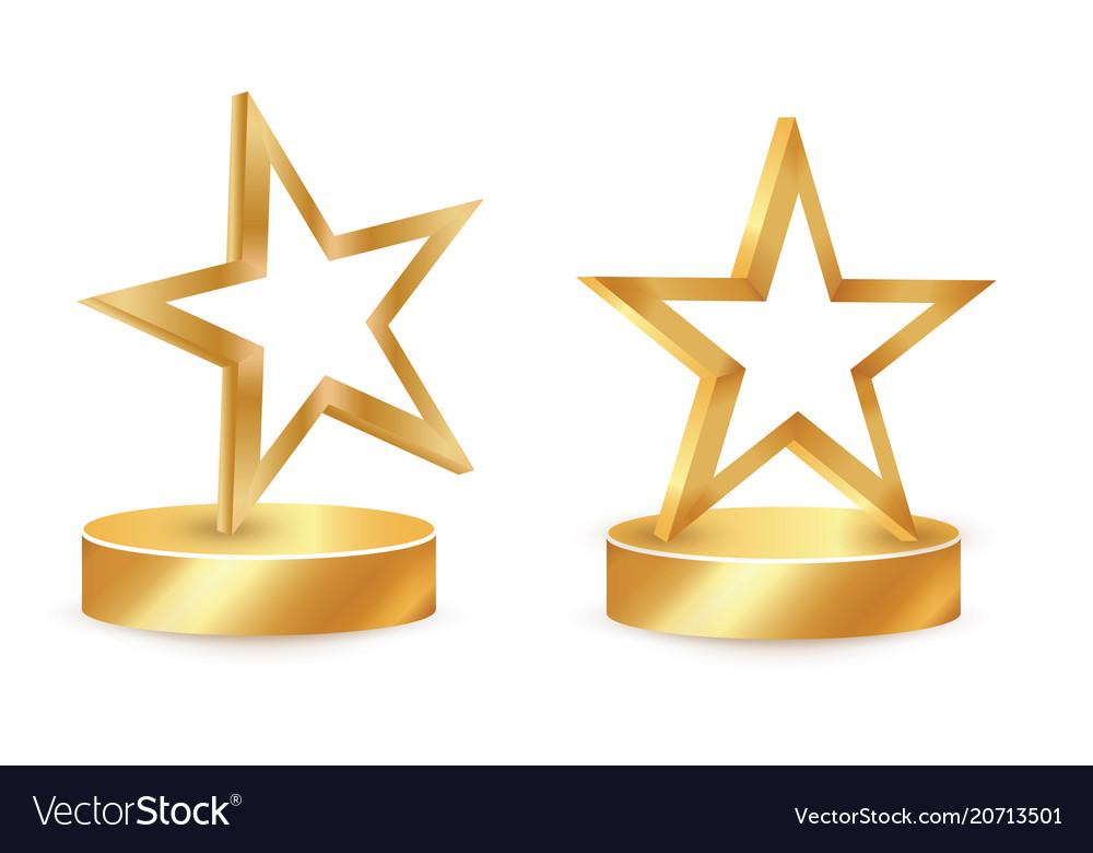 Gold star award on blank trophy reward icon