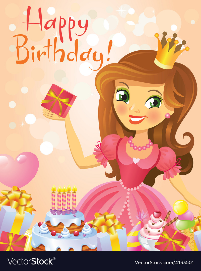 Happy birthday princess greeting card royalty free vector happy birthday princess greeting card vector image m4hsunfo
