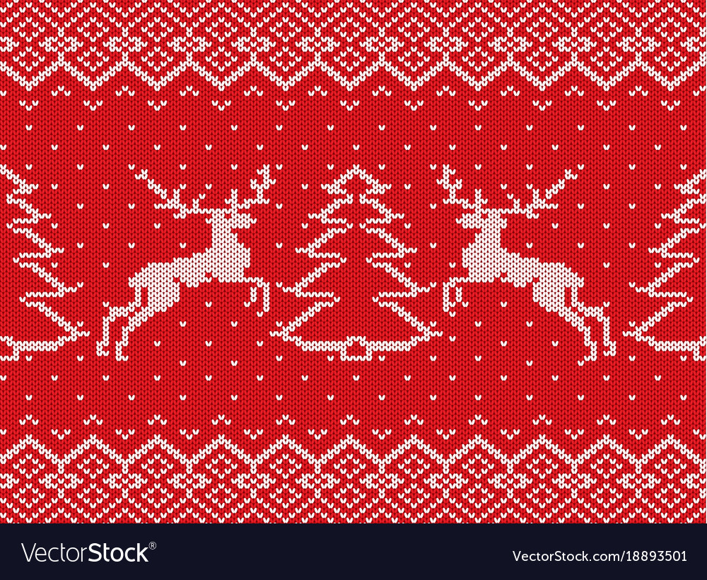 Knitted christmas texture with deers christmas