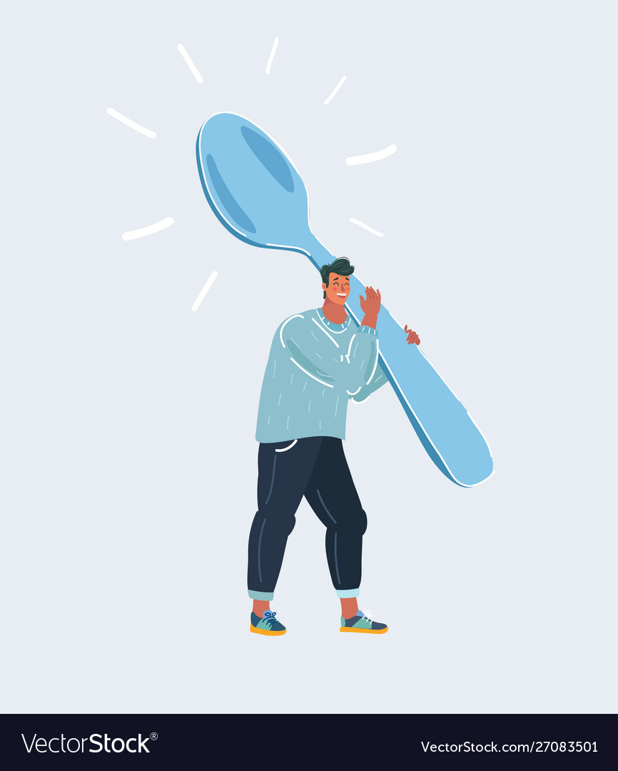 Man with very big spoon on white