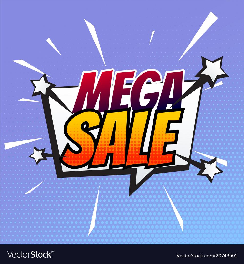 Mega sale banner in comic style